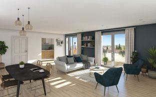 Illustration, perspective 3D intérieur photoréaliste appartement